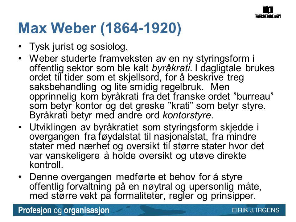 Max Weber (1864-1920) Tysk jurist og sosiolog.