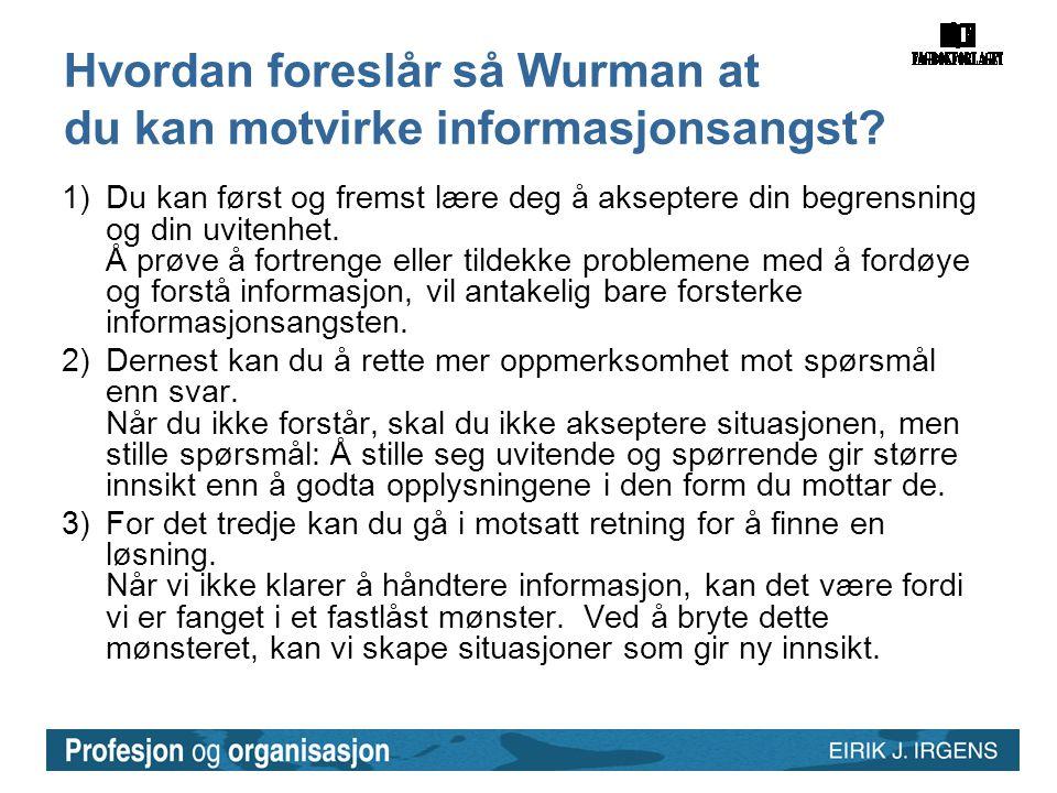 Hvordan foreslår så Wurman at du kan motvirke informasjonsangst