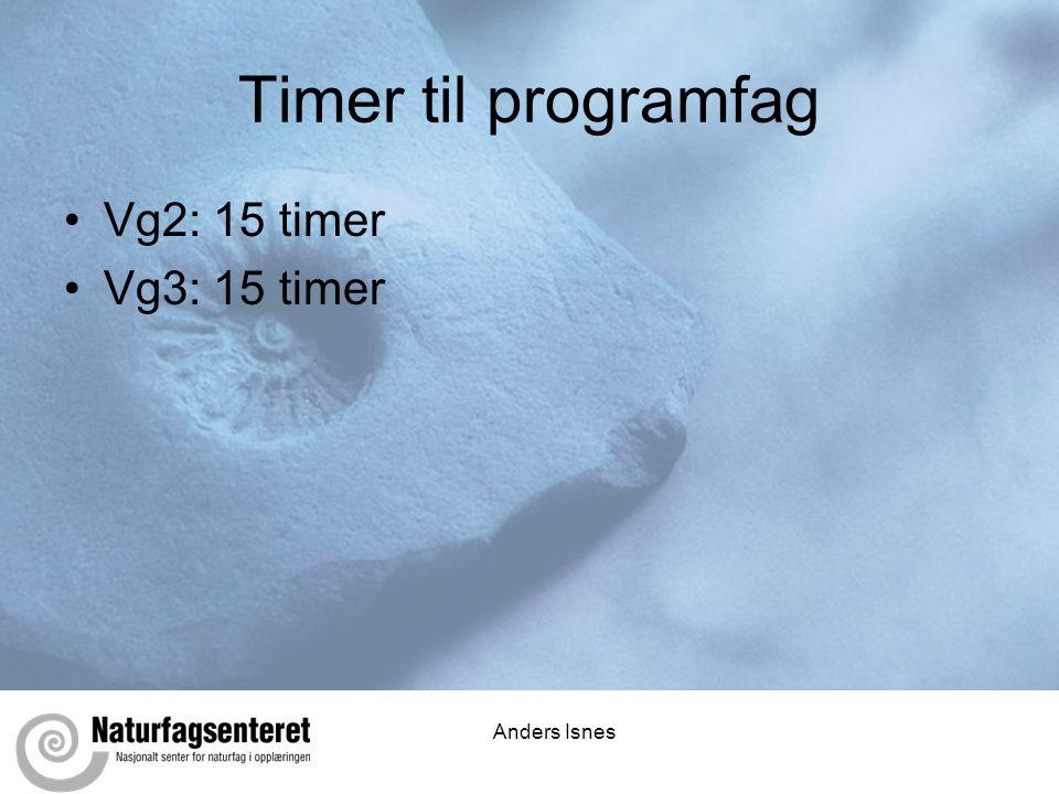 Timer til programfag Vg2: 15 timer Vg3: 15 timer Anders Isnes