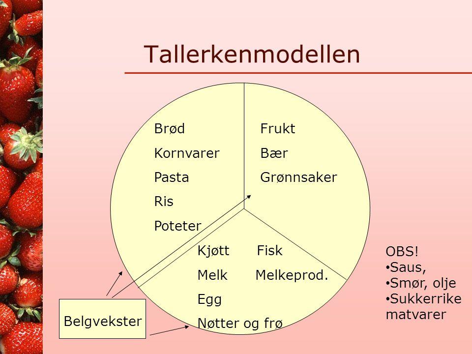 Tallerkenmodellen Brød Kornvarer Pasta Ris Poteter Frukt Bær