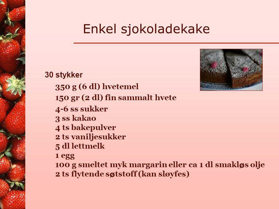 Enkel sjokoladekake 30 stykker 350 g (6 dl) hvetemel