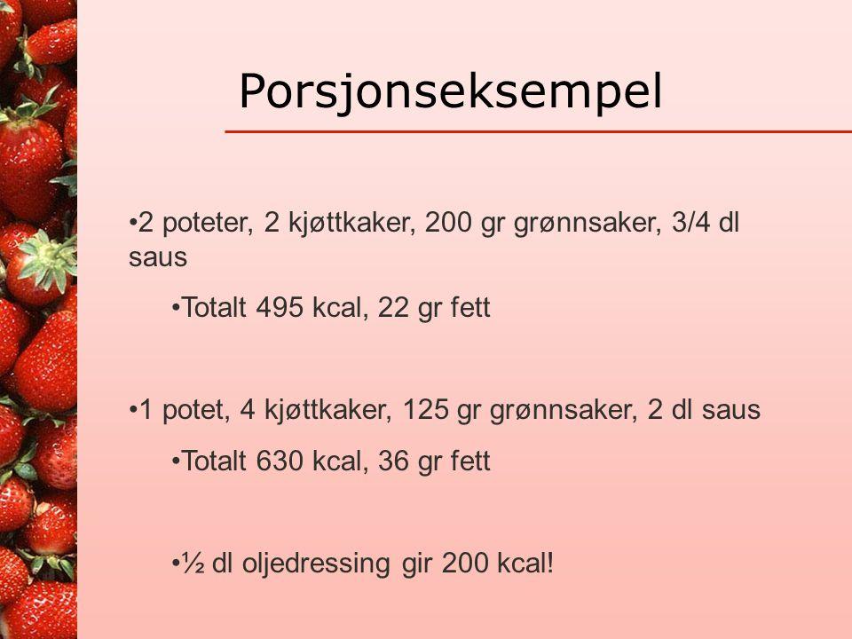 Porsjonseksempel 2 poteter, 2 kjøttkaker, 200 gr grønnsaker, 3/4 dl saus. Totalt 495 kcal, 22 gr fett.