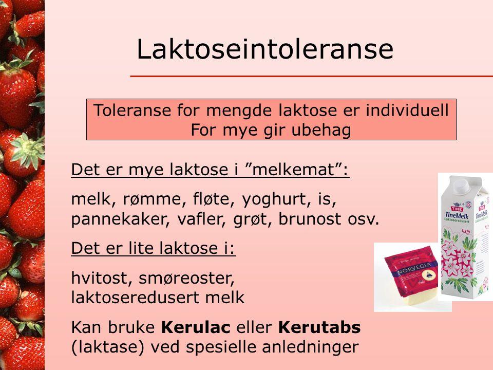 Toleranse for mengde laktose er individuell