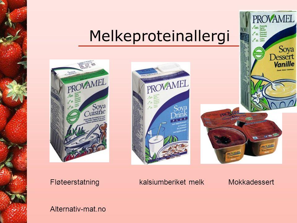 Melkeproteinallergi Fløteerstatning kalsiumberiket melk Mokkadessert