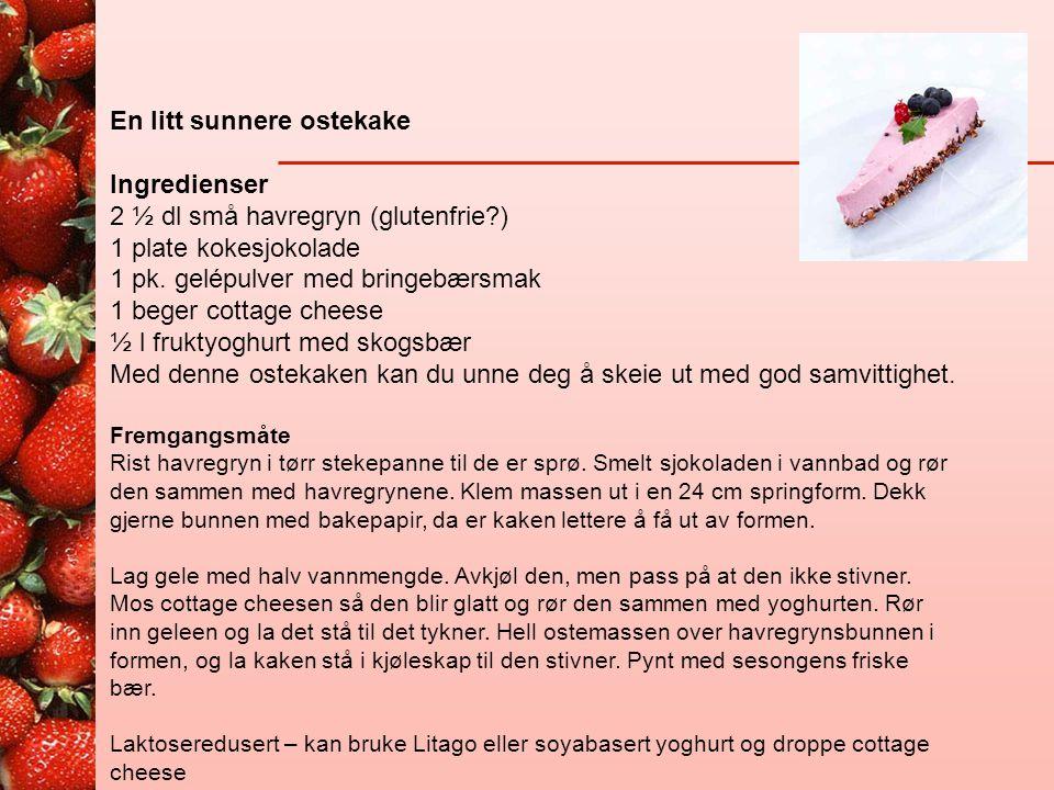En litt sunnere ostekake Ingredienser