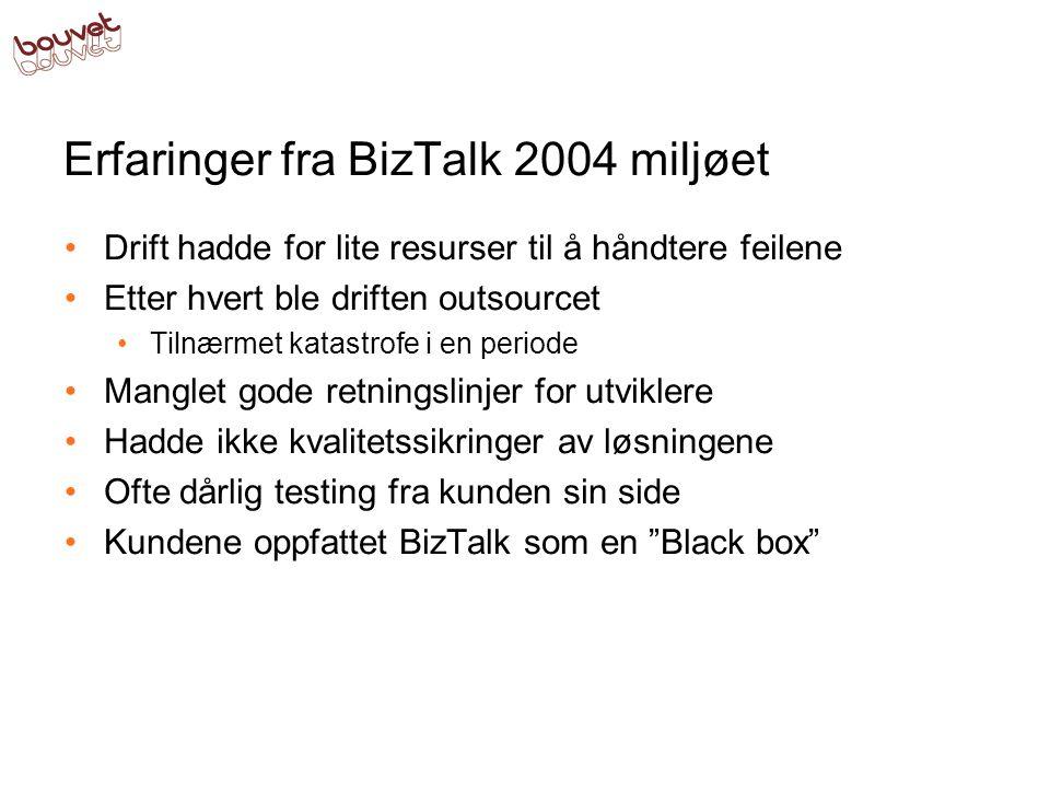 Erfaringer fra BizTalk 2004 miljøet