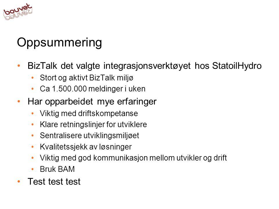 Oppsummering BizTalk det valgte integrasjonsverktøyet hos StatoilHydro