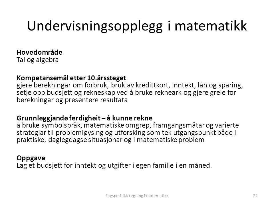 Undervisningsopplegg i matematikk