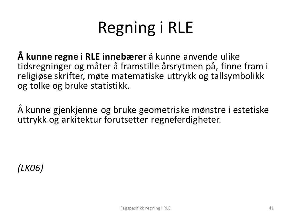 Fagspesifikk regning i RLE