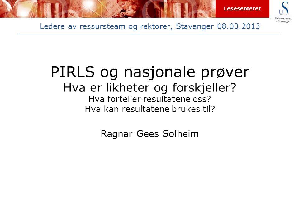 Ledere av ressursteam og rektorer, Stavanger 08.03.2013