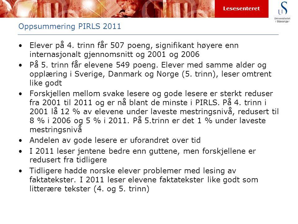 Oppsummering PIRLS 2011 Elever på 4. trinn får 507 poeng, signifikant høyere enn internasjonalt gjennomsnitt og 2001 og 2006.