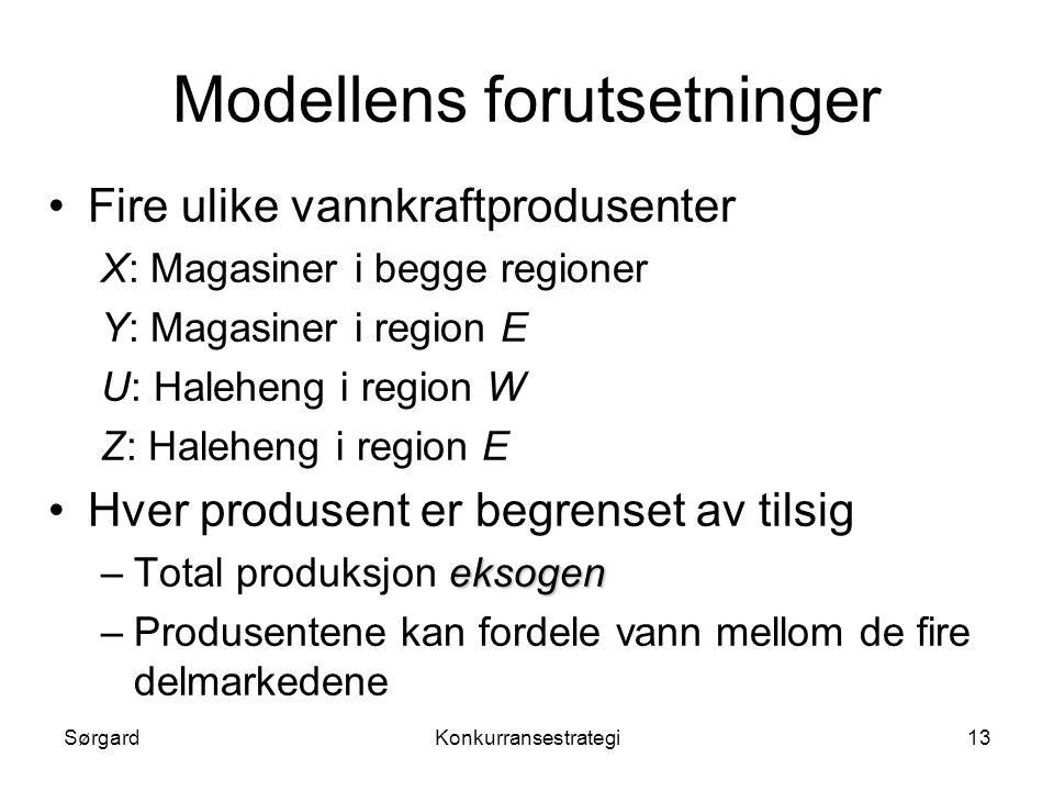 Modellens forutsetninger