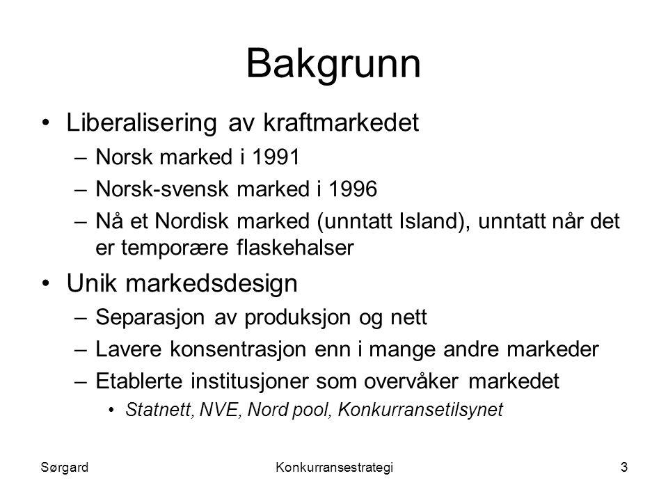 Bakgrunn Liberalisering av kraftmarkedet Unik markedsdesign