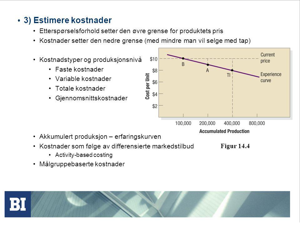 3) Estimere kostnader Etterspørselsforhold setter den øvre grense for produktets pris.