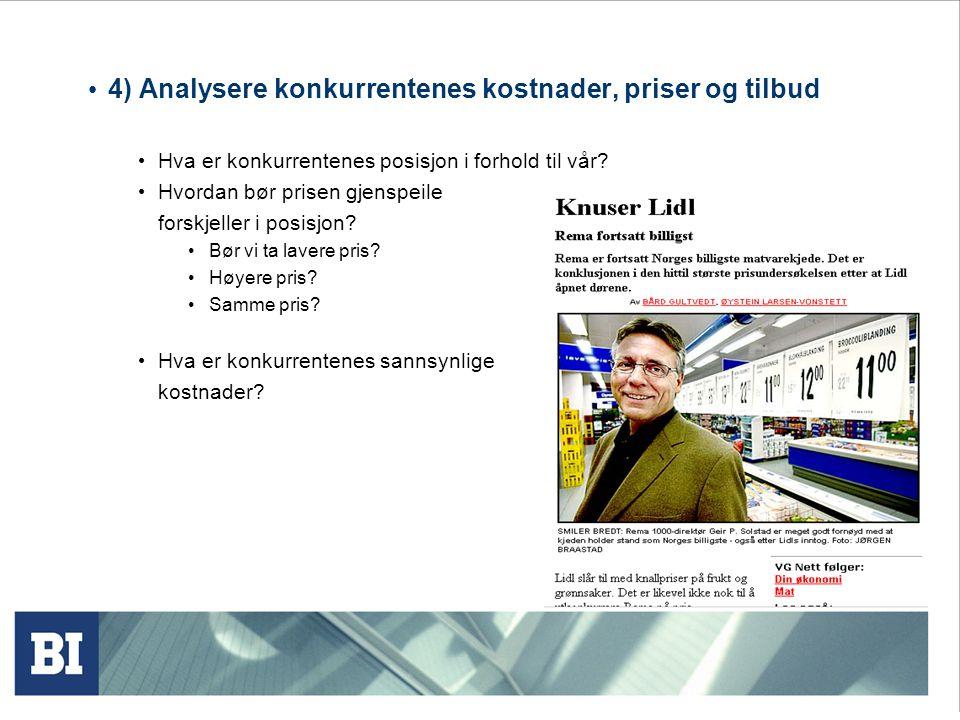 4) Analysere konkurrentenes kostnader, priser og tilbud