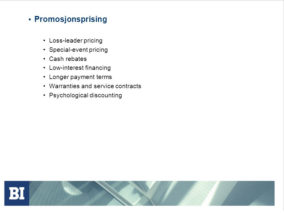 Promosjonsprising Loss-leader pricing Special-event pricing