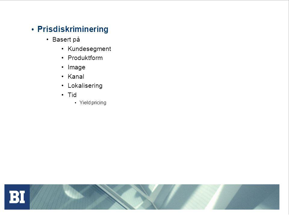 Prisdiskriminering Basert på Kundesegment Produktform Image Kanal