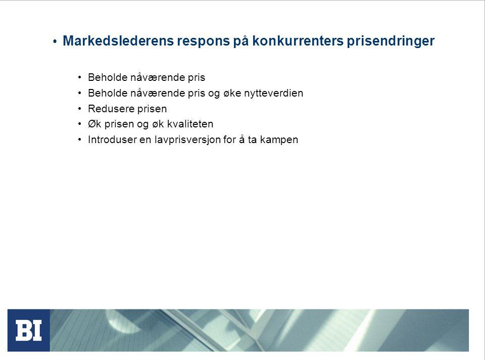 Markedslederens respons på konkurrenters prisendringer