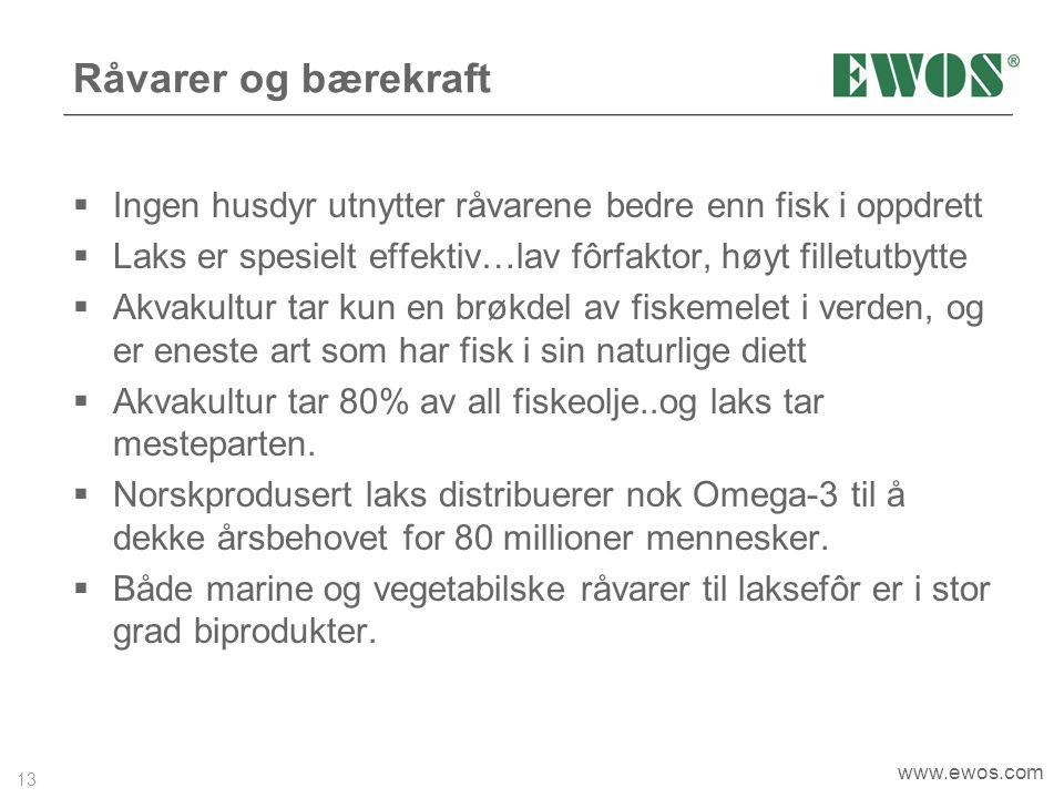 Råvarer og bærekraft Ingen husdyr utnytter råvarene bedre enn fisk i oppdrett. Laks er spesielt effektiv…lav fôrfaktor, høyt filletutbytte.