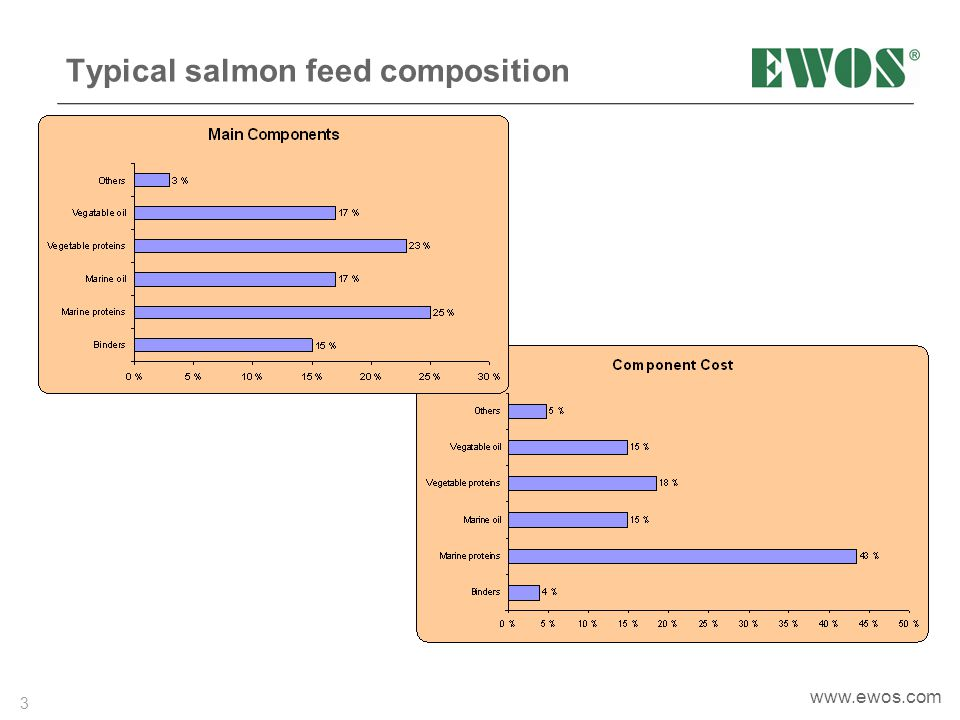Typical salmon feed composition