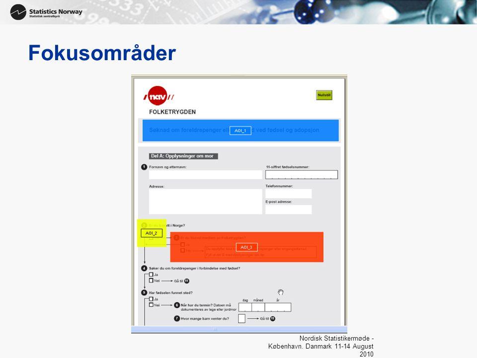 Fokusområder Nordisk Statistikermøde - København. Danmark 11-14 August 2010