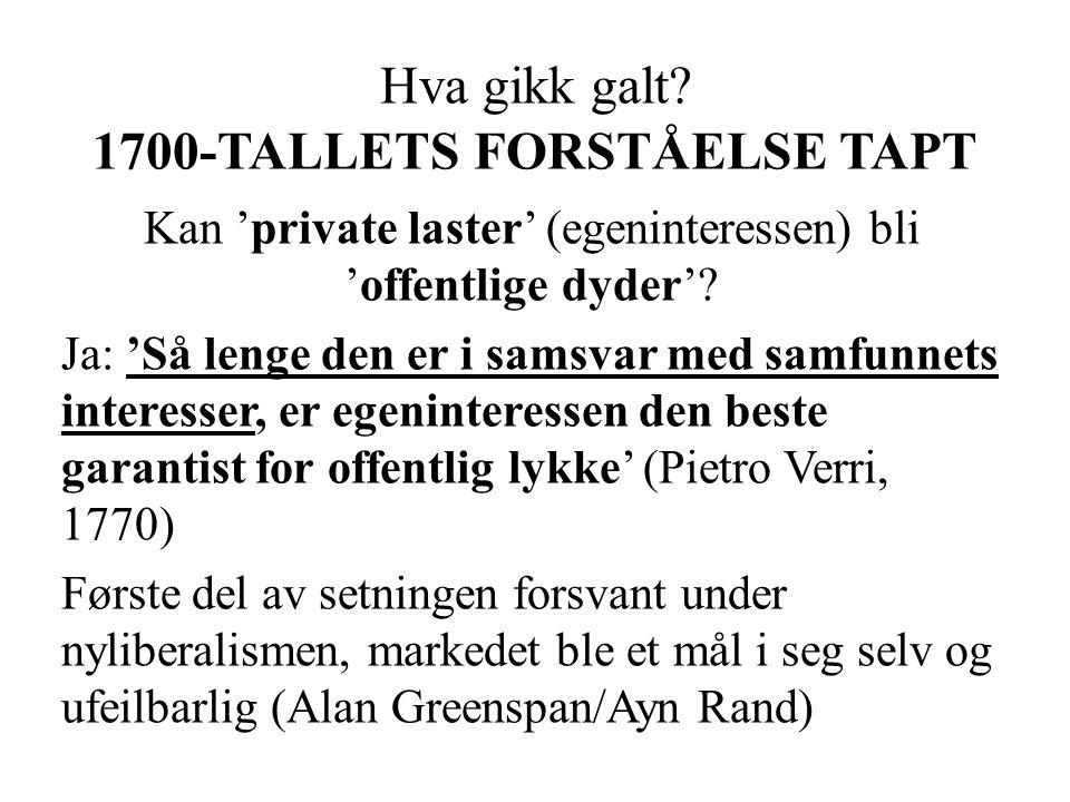 Hva gikk galt 1700-TALLETS FORSTÅELSE TAPT