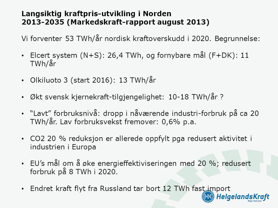 Langsiktig kraftpris-utvikling i Norden