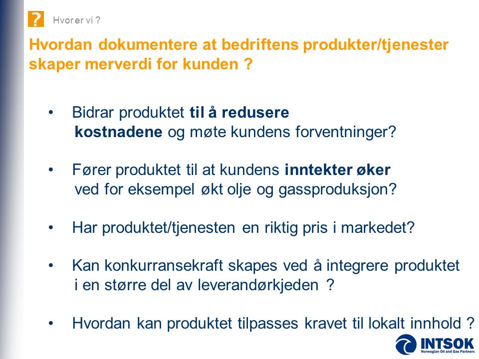 Hvordan dokumentere at bedriftens produkter/tjenester