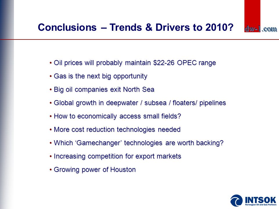 Conclusions – Trends & Drivers to 2010