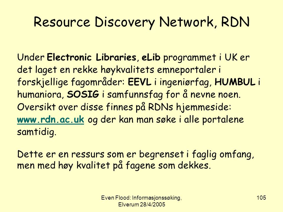 Resource Discovery Network, RDN