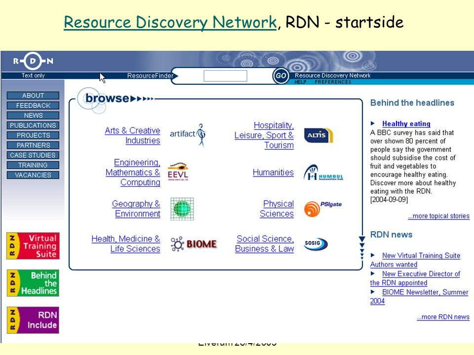 Resource Discovery Network, RDN - startside