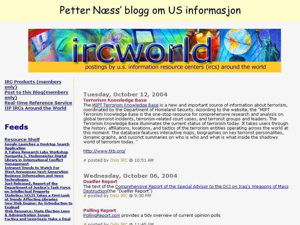 Petter Næss' blogg om US informasjon
