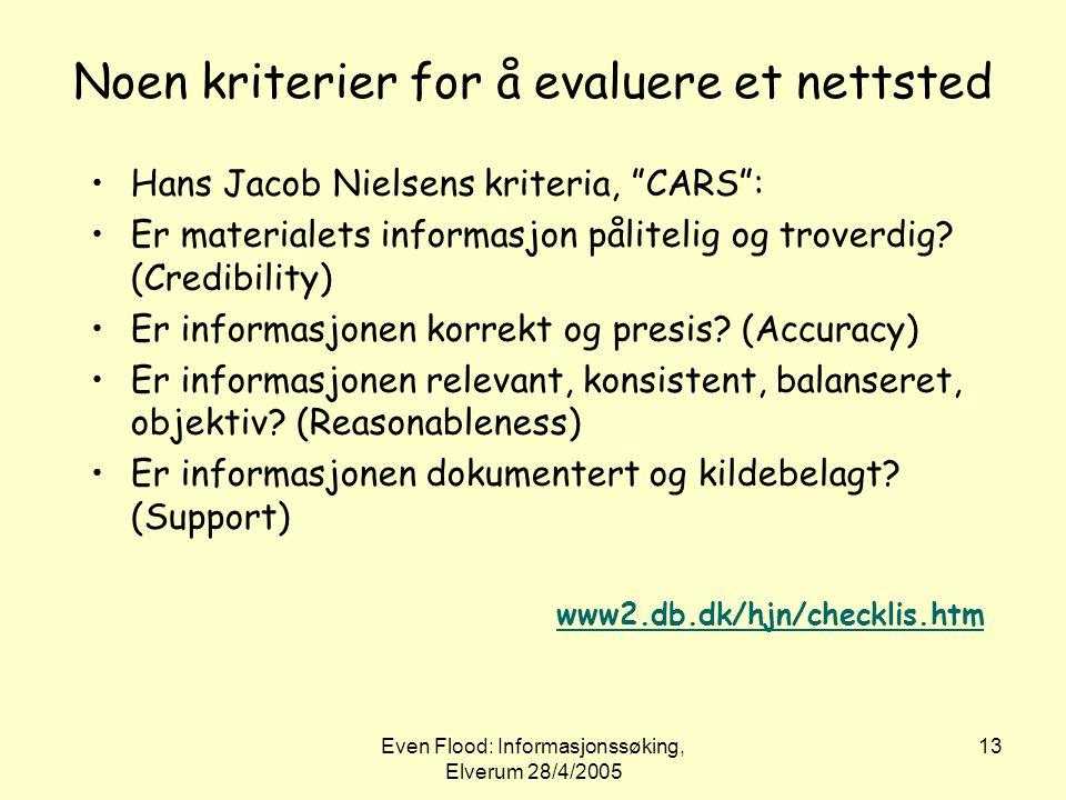 Noen kriterier for å evaluere et nettsted