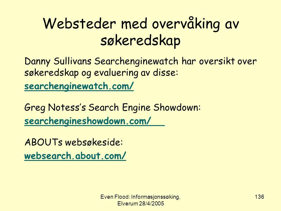 Websteder med overvåking av søkeredskap