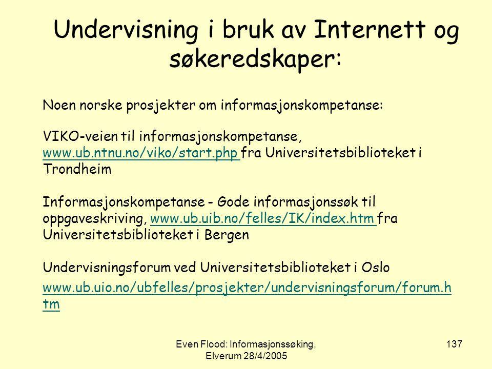 Undervisning i bruk av Internett og søkeredskaper: