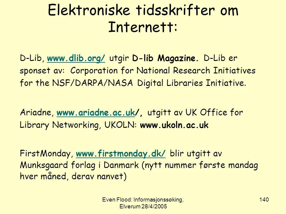 Elektroniske tidsskrifter om Internett: