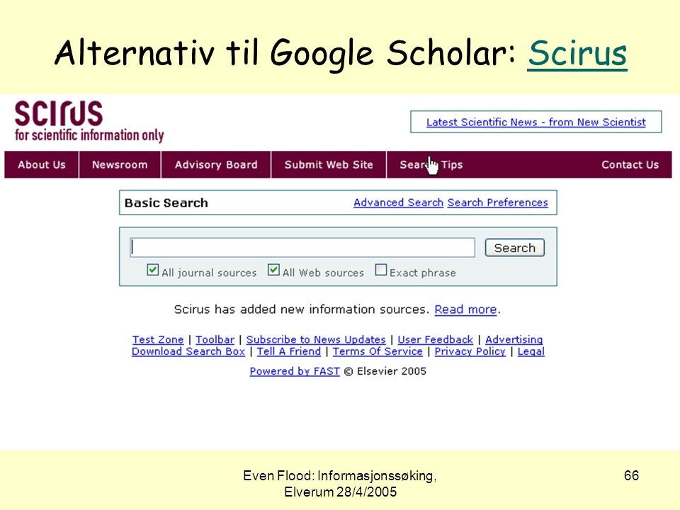 Alternativ til Google Scholar: Scirus
