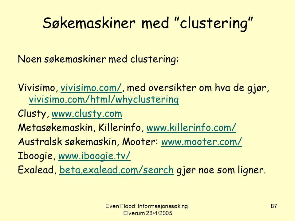 Søkemaskiner med clustering