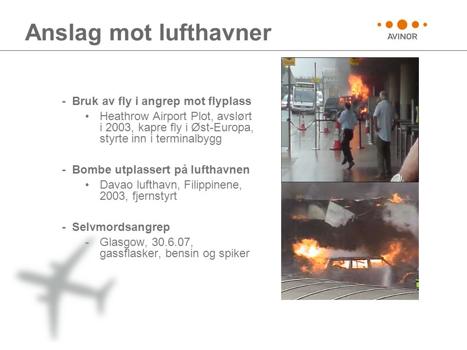 Anslag mot lufthavner - Bruk av fly i angrep mot flyplass