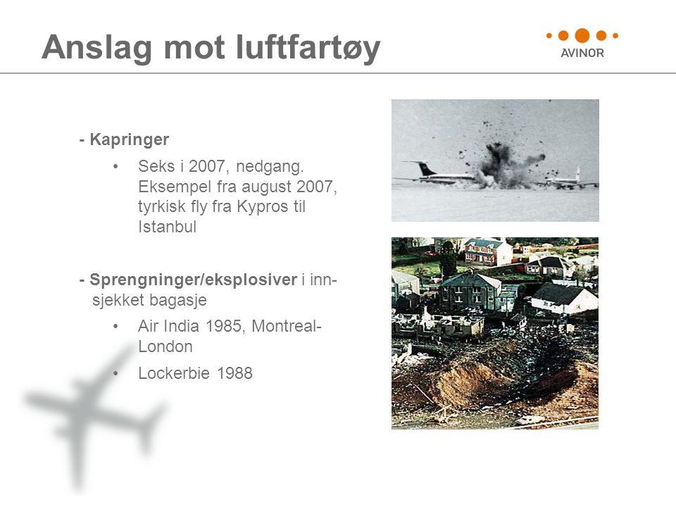 Anslag mot luftfartøy - Kapringer