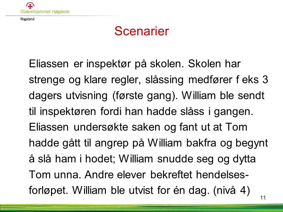 Scenarier Eliassen er inspektør på skolen. Skolen har