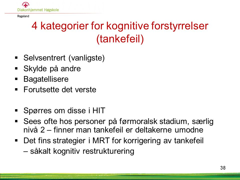 4 kategorier for kognitive forstyrrelser (tankefeil)