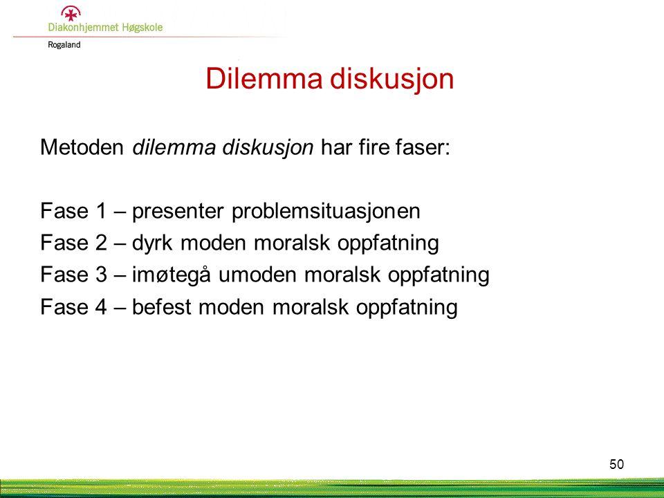 Dilemma diskusjon Metoden dilemma diskusjon har fire faser: