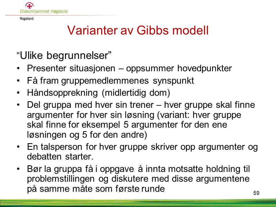 Varianter av Gibbs modell