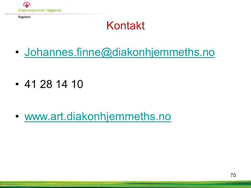 Kontakt Johannes.finne@diakonhjemmeths.no 41 28 14 10 www.art.diakonhjemmeths.no