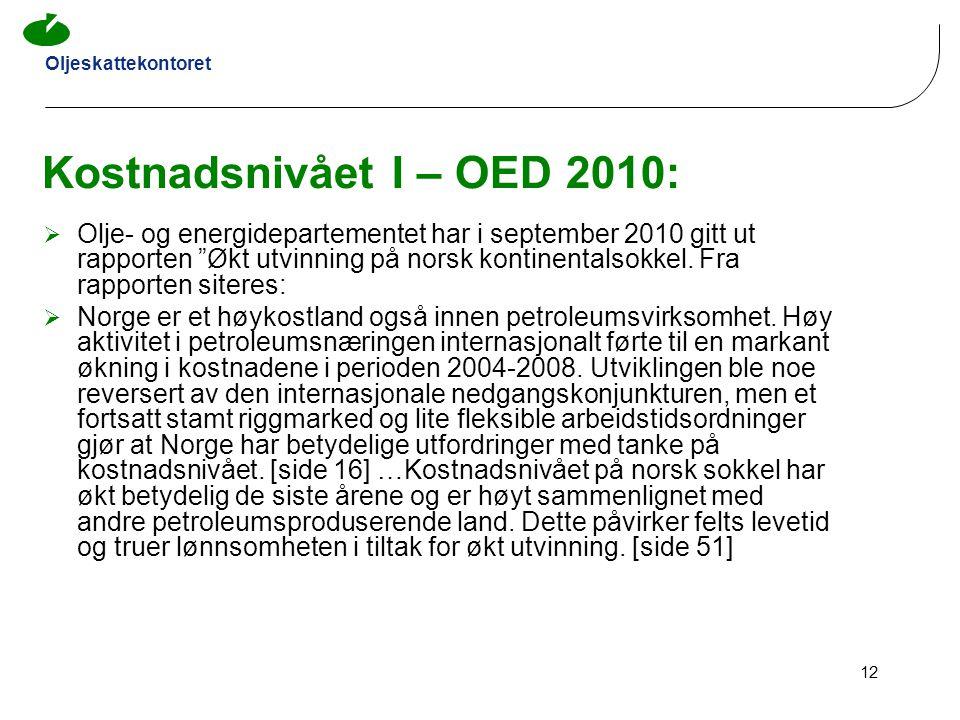 Kostnadsnivået I – OED 2010: