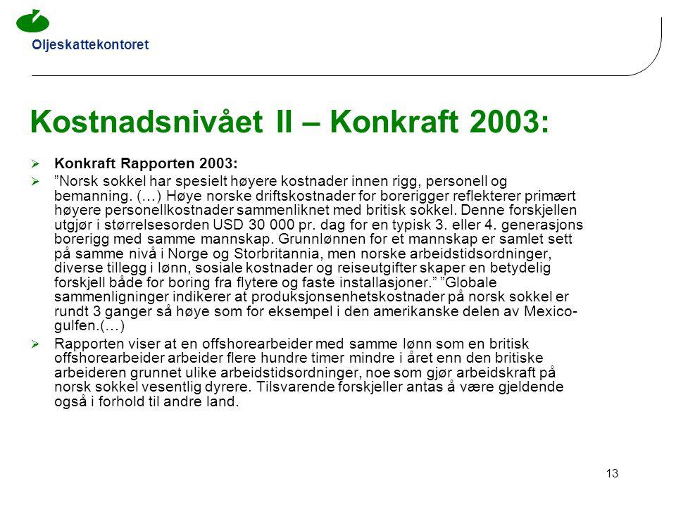 Kostnadsnivået II – Konkraft 2003: