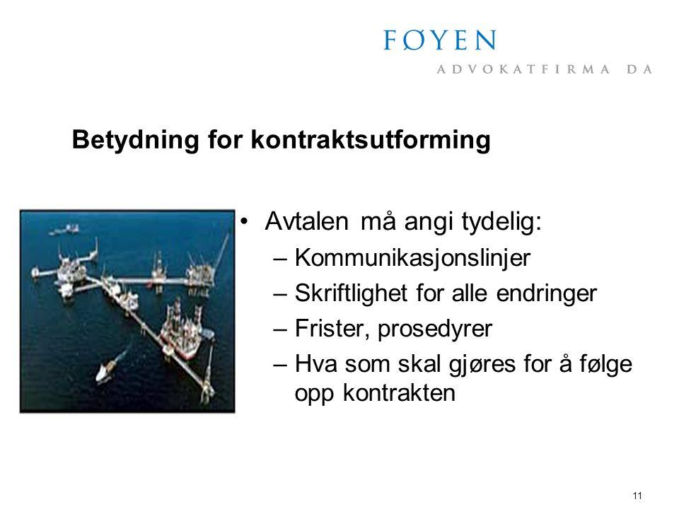Betydning for kontraktsutforming