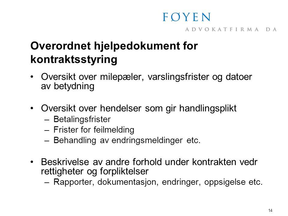 Overordnet hjelpedokument for kontraktsstyring