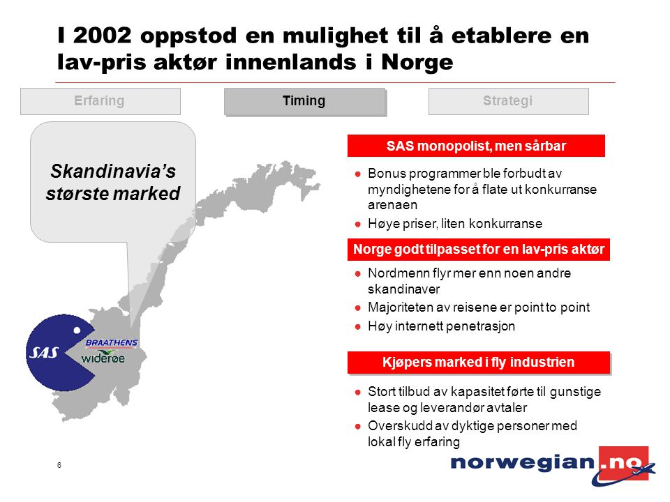 I 2002 oppstod en mulighet til å etablere en lav-pris aktør innenlands i Norge